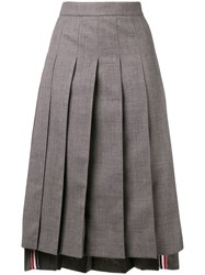 Thom Browne Ankle Length Pleated Skirt Grey