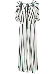 Adam By Adam Lippes Striped Sleeveless Flounce Dress White