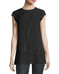 Lafayette 148 New York Aspen Cap Sleeve Chain Trim Silk Blouse Black
