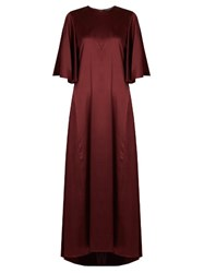 Ellery Louis Silk Satin Dress Burgundy
