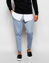 Asos Slim Fit Smart Joggers In Marl Jersey Blue