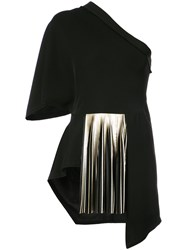 Yigal Azrouel One Shoulder Pleated Blouse Polyester Black