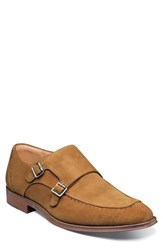 Stacy Adams Balen Moc Toe Double Strap Monk Shoe Tan Suede