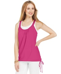 Style And Co. Solid Layered Look Tank Pink Breeze
