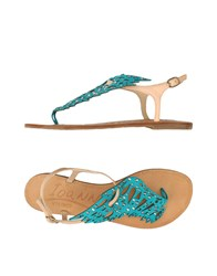 Ioannis Toe Strap Sandals Turquoise