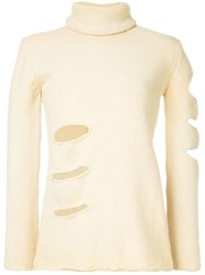 Yohji Yamamoto Turtleneck Holes Detail Jumper Nude And Neutrals