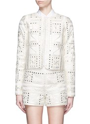 Alice Olivia 'Kidman' Embellished Aztec Embroidery Jacket White