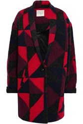 Joie Woman Patchwork Effect Wool Blend Coat Burgundy