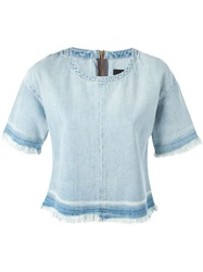 J Brand Frayed Denim Top Blue