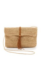 Hat Attack Raffia Clutch With Braid Tobacco Braid