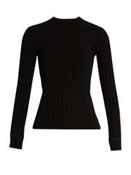 Simon Miller Mira Long Sleeved Ribbed Knit T Shirt Black