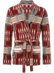 Nuur Shawl Lapels Patterned Cardigan Red