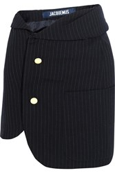 Jacquemus Pinstriped Wool Mini Skirt Navy