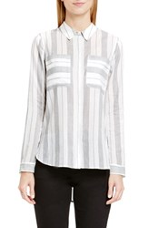 Vince Camuto Women's Two By Stripe Cotton Utility Shirt New Ivory