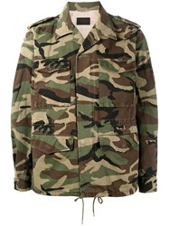 Saint Laurent Camouflage Love Embroidered Parka Green