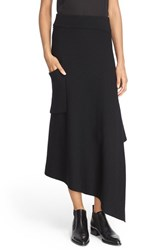 Tibi Women's Ribbed Origami Wrap Skirt Black
