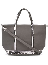 Vanessa Bruno Small Sequin Trim Shopping Tote Grey