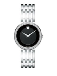 Movado Esperanza Diamond And Stainless Steel Bracelet Watch Silver Black