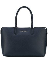 Armani Jeans Logo Shopper Tote Women Leather One Size Blue