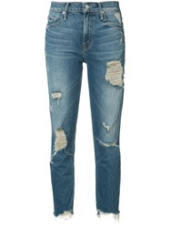 Mother Ripped Cropped Jeans Blue