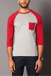 Forever 21 Heathered Baseball Tee Heather Grey Red