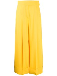 Sara Battaglia High Waisted Wide Leg Trousers Yellow