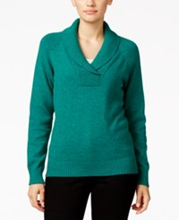 Karen Scott Marled Shawl Collar Sweater Only At Macy's Marine Green