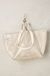 Anthropologie Shimmered Straw Tote Silver