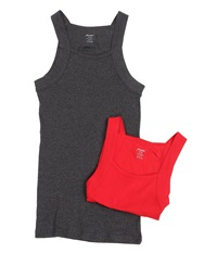 2Xist 2 Pack Essential Square Cut Tank Charcoal Salsa Red Men's Underwear Khaki