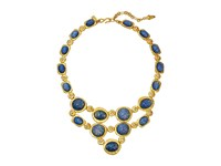 Kenneth Jay Lane Satin Gold Crystal Blue Opal Cabs Bib Necklace Blue Opal Necklace