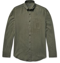 Tom Ford Slim Fit Button Down Collar Cotton And Cashmere Blend Twill Shirt Army Green