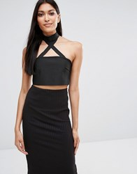 Missguided Exclusive Bandage Choker Bandeau Top Black
