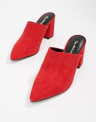 Miss Selfridge Faux Suede Pointed Heeled Mule In Red Black
