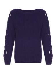 Aftershock Pascale Cable Knit Ivory Jumper Navy