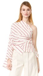 A.W.A.K.E. One Shoulder Twisted Top Ivory Red
