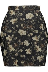 Valentino Printed Silk Faille Mini Skirt Black