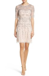 Adrianna Papell Women's Embellished Mesh Fit And Flare Dress
