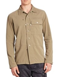 Ralph Lauren Blue Label Chevron Button Front Shirt Olive Moss