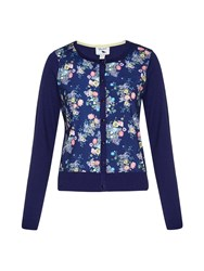 Yumi Floral Front Cardigan Navy