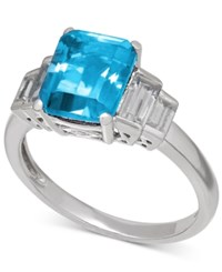 Macy's Blue Topaz 2 9 10 Ct. T.W. And White Topaz 1 1 2 Ct. T.W. Ring In Sterling Silver