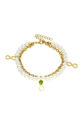 Simulated Pearl And Infinity Charm Bracelet No Color