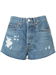 Re Done Distressed Detail Shorts Blue