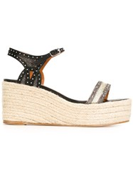 Lanvin Wedge Espadrilles Sandals Metallic