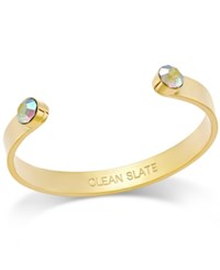 Kate Spade New York Gold Tone Polished Clean Slate Crystal Enhanced Cuff Bracelet Pink