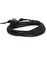 Jan Leslie Leather And Chain Double Wrap Bracelet No Color
