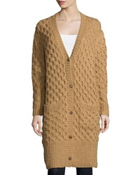 Michael Kors Collection Button Front Textured Long Cardigan Fawn Women's Size Medium Large