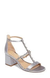 Jewel Badgley Mischka Women's Alamea Block Heel Sandal Silver Satin