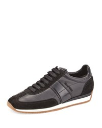 Tom Ford Colorblock Leather Suede Runner Sneaker Black