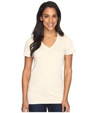 The North Face Short Sleeve Boyfriend Tri Blend Tee Tnf Oatmeal Heather Light Mahogany Women's T Shirt White