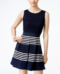 Speechless Juniors' Lace Striped Fit And Flare Dress Navy White